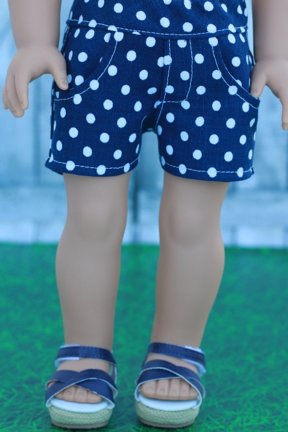 18 Inch Girl Doll Clothes | Blue White Dot Woven SHORTS for dolls such as American Girl Doll