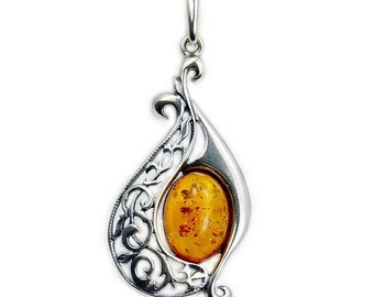 Alluring Natural Baltic Amber & .925 Sterling Silver Pendant Z878