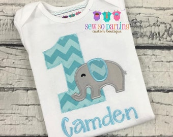 Baby Boy 1st Birthday Outfit - 1st Birthday Elephant Birthday Shirt - Elephant Birthday Outfit
