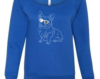 Corgi Sweatshirt, Womens open neck, Dog Sweatshirt