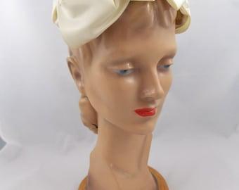 Ivory Satin Ribbon Vintage Fascinator Hat