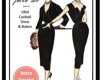 1950s Wiggle Dress and Bolero Vintage French Sewing Pattern  - Paper Sewing Pattern - Rockabilly - Pin Up