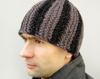 Mens Knitted Striped Hat, Warm black brown Winter hat,  Mens Beanie ski cap, Gift Ideas for Him