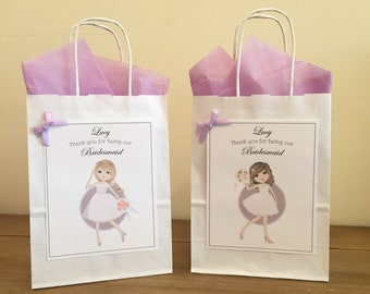 Personalised Wedding, Favour, Gift Bag, Party, Thank you - BRIDESMAID or FLOWER GIRL