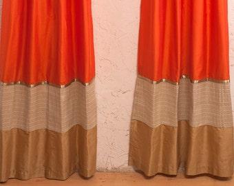 Orange silk curtains