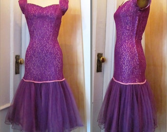 Vintage 1950's Purple Lace and Tulle Lorie Deb Mermaid Dress Size XS