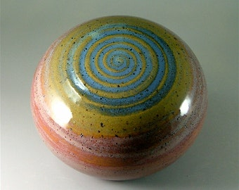 Ceramic Garden Art Orb, Red, Turquoise-Green with Blue Spiral / Pottery Garden Sphere