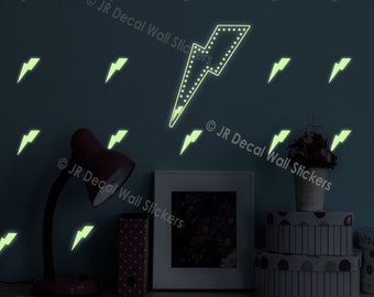 35 X Glow in the Dark Decal Lightning Bolt Flash Pattern Wall Stickers Nursery Art Bolt Decal