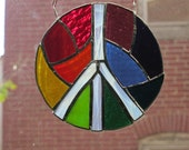 Rainbow Peace Mandala In stained glass