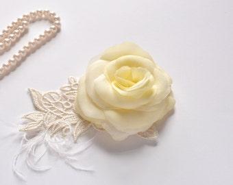 Pure Silk Bridal Flower Hair Clip, Bridal Hair Flower Rose, Wedding Silk Hair Piece, Bridal Flower, Pure Silk Flower Hair Clip