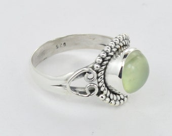 Natural Prehnite Gemstone Ring, 925 Sterling Silver ring, Prehnite Jewelry, Beautiful Designer Ring, Silver Ring, Size US 6 7 8 9 10
