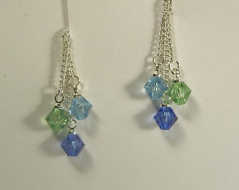 "Cynthia Lynn ""BLESSINGS"" Mother's Day Swarovski Crystal Child Birthstone Sterling Silver Earrings 1.75"""
