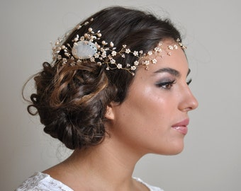 Beach bride headpiece - Bridal hair vine with beaded flowers, Ocean wedding hair accessories