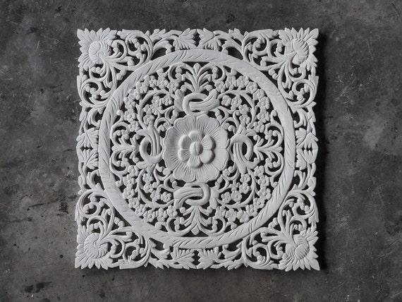 Carved Wood Wall Decor White : White wood carving wall art panel hanging by