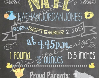 Birth Announcement- Baby Announcement Chalkboard, Chalk sign- Digital File