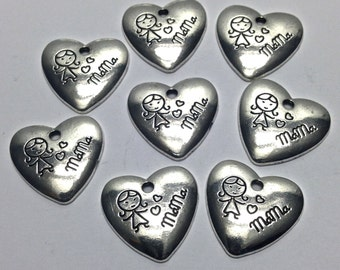 8 love mama charms , antique silver 21mm # CH 004