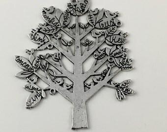 1 tree charm silver tone 58mm #CH 417