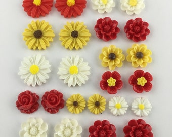 24 pcs resin cabochon flowers ,assorted sizes,#FL032