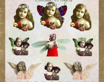 Little Vintage Angels - Digital Scrapbooking and Paper Craft Images