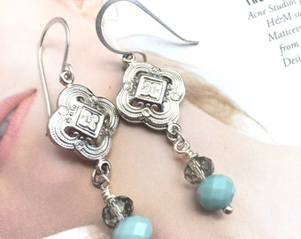 Tiffany Blue and Silver Earrings