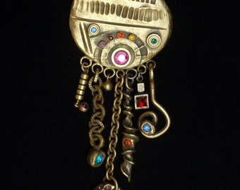 Dangling Charms Brooch Pin Abstract Contemporary
