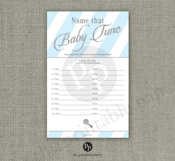 Name that Baby Tune Baby Shower Game 10 Songs Baby Songs