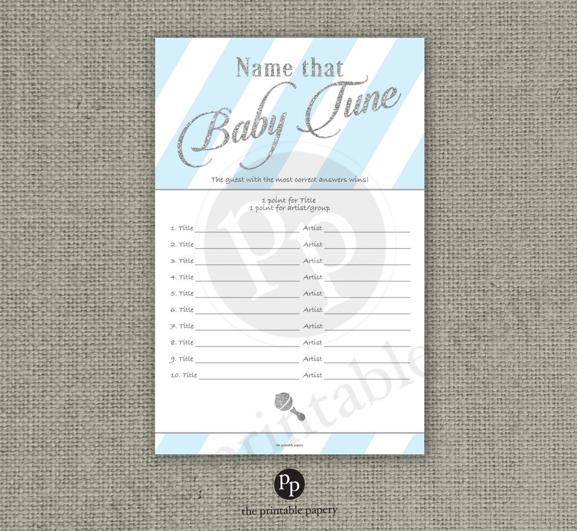 Name That Baby Tune Baby Shower Game   10 Songs   Baby Songs Game   Blue  White Stripe With Silve Glitter Design   Calligraphy IAB 133GS