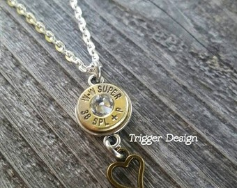 38 Special Brass Bullet Necklace with Heart Charm -Crystal