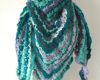 Crochet shawl purple and turqoise