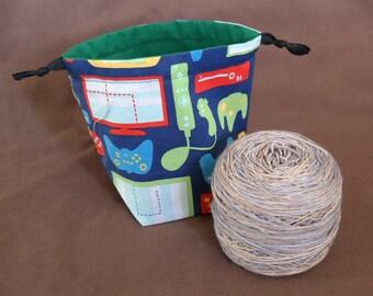 Reversible, Drawstring Yarn Cake bag