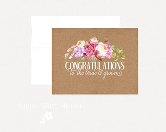 Rustic Floral Wedding Card Congratulations, Engagement Card, Anniversary Card, Wedding Card