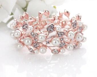 ROSE GOLD Bridal pearl bracelet, Wedding bracelet, Pearl bridal jewelry, Bridesmaid bracelet, Wedding pearl jewelry, Pearl bracelet B0111RG
