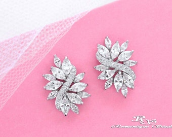 Small CZ earrings wedding jewelry Cubic zirconia earrings Swarovski crystal cluster earrings bridal jewelry bridesmaid earrings 1371