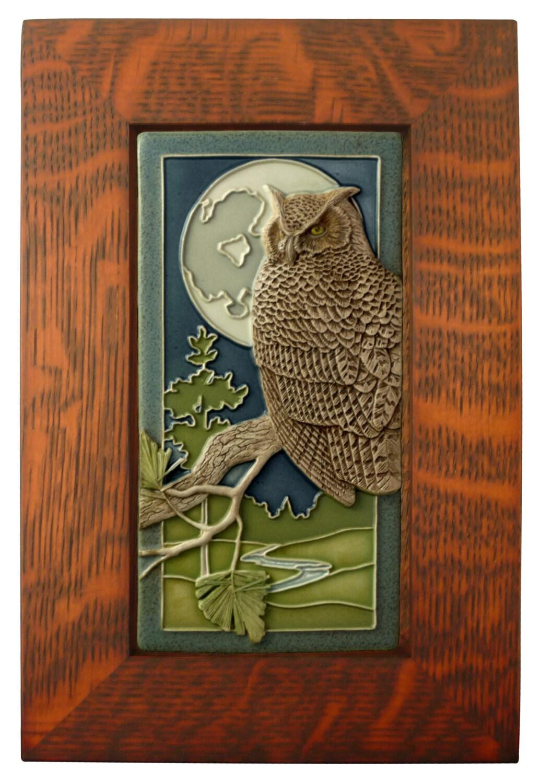Framed ceramic tile night owl art tile wall decor for Ceramic wall art