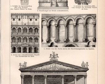 Roman Art & Architecture, Ancient Rome, Antique Print, Colosseum, Roman Sculpture, Julius Caesar, Jupiter Temple, Ionic Column Capital