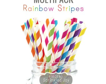 RAINBOW STRIPES Paper Straws, Multipack, Blue, Red, Orange, Yellow, Green, Purple, Pink, 25 Straws, Birthdays, My LIttle Pony