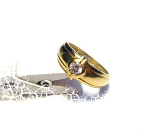 Vintage ring silver plated Gr. 54, sterling silver ring, gold plated, US size 6.8 jewelry