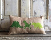 Pillow Cover | Dinosaur Pillow | Burlap Pillow | Baby Boy pillow | Dinosaur nursery | Dinosaur Lumbar | Dinosaur Bedding | Green Dinosaur