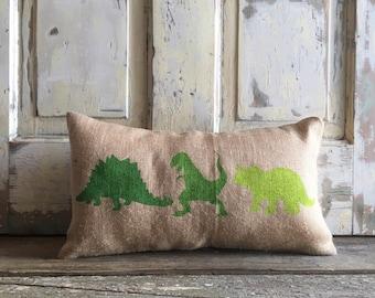 Pillow Cover | Dinosaur Pillow | Burlap Pillow | Baby Boy pillow | Dinosaur nursery | Dinosaur Lumbar | Dinosaur Bedding | Green Dinosaur