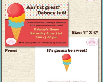 Ice Cream Birthday Party Invitation Retro Girl Boy 1st 5th 6th 7th 8th 9th Boogie Bear Invitations Dabney Theme Paperless Printable Printed