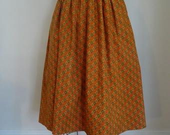 50's Skirt Cotton Dirndl Prairie Orange Print Skirt Small
