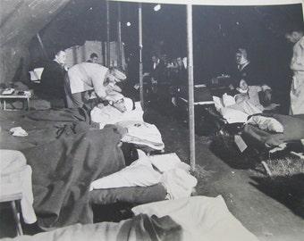 Original 1940's World War II Era US Army Field Hospital Snapshot Photo - Free Shipping