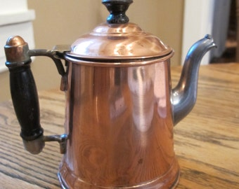Vintage Copper Pewter and Wood Handled Teapot