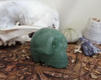small green aventurine carved skull, crystal skull