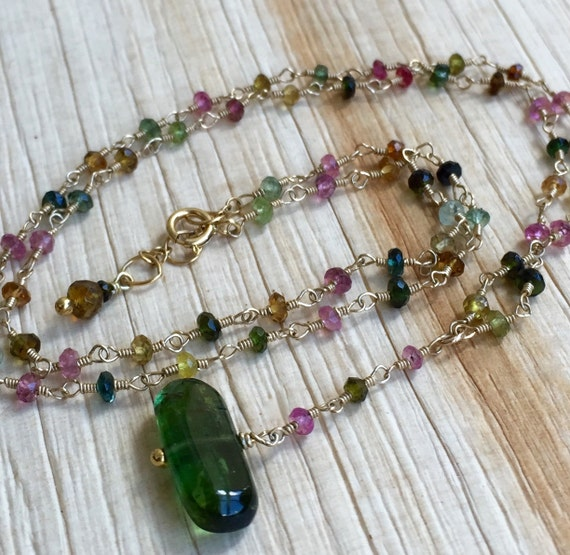 Tourmaline Gemstone Necklace Multi Color, Hand Wire Wrapped 14K Gold Fill Gift for Her, Valentine Gift  October Birthston