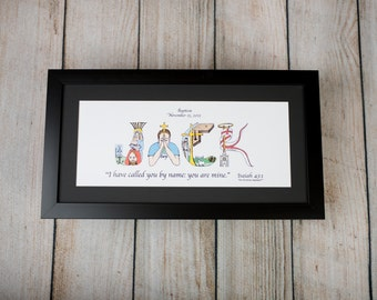 Unique Baptism Gifts for Boys and Girls - Personalized Christian Gifts - Christian Name Art with frame; Baptism Gifts; Christening Gifts