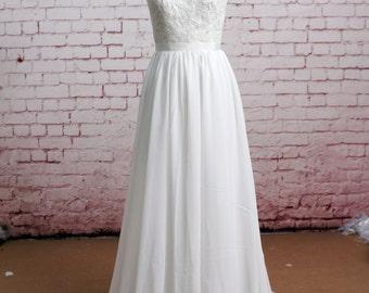 Sheer Back Wedding Dress Illusion Neckline Wedding Dress Lace Chiffon Wedding Bridal Dress with Waistband
