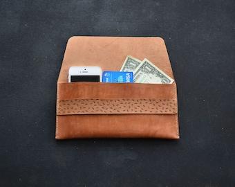 Brown leather wallet Long iPhone wallet Slim travel case Travel wallet Passport holder Minimalist envelope clutch Wedding bridesmaid gift.