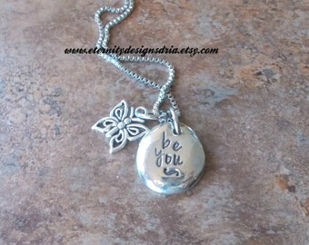 Personalized Pewter Be You Necklace,Butterfly necklace