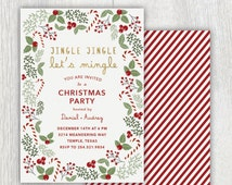 Printable Christmas party invitation - Jingle Jingle Lets Mingle - Christmas card - Candy canes - Holly and evergreens wreath - Customizable